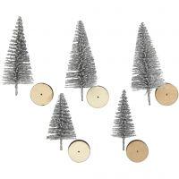 Kerstbomen, H: 40+60 mm, zilver, 5 stuk/ 1 doos
