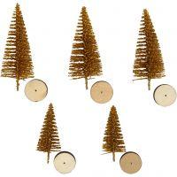 Kerstbomen, H: 40+60 mm, goud, 5 stuk/ 1 doos