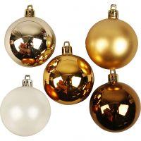 Kerstballen, d: 6 cm, goud, 20 stuk/ 1 doos