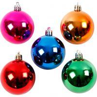 Kerstballen, d: 6 cm, sterke kleuren, 20 stuk/ 1 doos