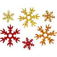 Pailletten, d: 25+45 mm, koper, goud, rood, 30 gr/ 1 doos
