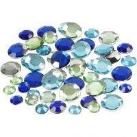 Strasstenen, rond, afm 6+9+12 mm, blauw/groen harmonie, 360 stuk/ 1 doos