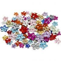 Strasstenen, d: 6+10+12 mm, diverse kleuren, 252 stuk/ 1 doos