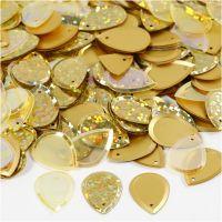 Pailletten, druppel, afm 14x19 mm, goud, 50 gr/ 1 doos