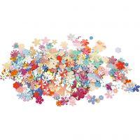 Pailletten, d: 5-20 mm, pastelkleuren, 10 gr/ 1 doos