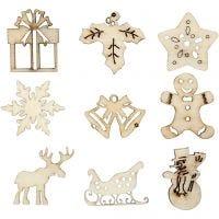 Hout decoratie, kerstmis, afm 28 mm, 45 stuk/ 1 doos