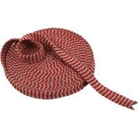 Rondgebreide tube, B: 22 mm, kerstrood/grijs, 10 m/ 1 rol