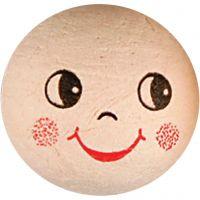 Katoenbal met gezicht, d: 30 mm, 10 stuk/ 1 doos