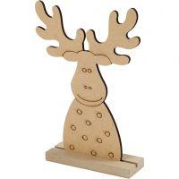 Kerstfiguur, Rendier, H: 15 cm, diepte 3 cm, B: 11 cm, 1 stuk