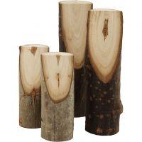 Decoratieve boomstam, H: 8+12 cm, d: 2,5-3,5 cm, 4 stuk/ 1 doos