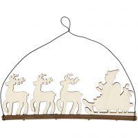 Kerstdecoratie, kerstman met rendier, H: 8 cm, diepte 0,5 cm, B: 22 cm, 1 stuk