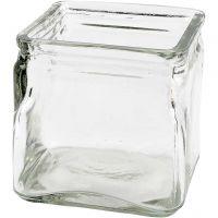 Vierkant glas, H: 10 cm, afm 10x10 cm, 12 stuk/ 1 karton