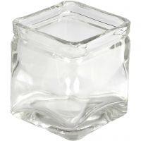 Vierkant glas, H: 5,5 cm, afm 5,5x5,5  cm, 12 stuk/ 1 karton