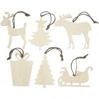 Ornamenten, afm 7-9 cm, dikte 4 mm, 6 stuk/ 1 doos