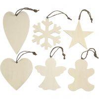 Ornamenten, afm 9-11 cm, dikte 4 mm, 6 stuk/ 1 doos