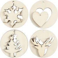 2-in-1 Hangende decoraties, d: 7 cm, gatgrootte 3 mm, dikte 4 mm, 8 stuk/ 1 doos