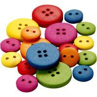 Houten knopen, d: 12-20 mm, 2-4 gaten, diverse kleuren, 360 stuk/ 1 doos