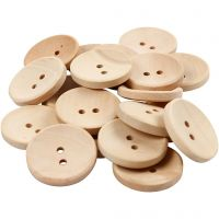 Houten knopen, d: 23 mm, gatgrootte 2 mm, 2 gaten, 20 stuk/ 1 doos