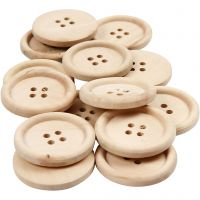 Houten knopen, d: 30 mm, gatgrootte 2 mm, 4 gaten, 14 stuk/ 1 doos
