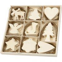 Houten decoraties, Kerst, afm 7-8 cm, 72 stuk/ 1 doos