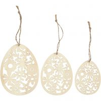 Ornamenten, H: 8+10+12 cm, B: 6+7,5+9 cm, dikte 3 mm, 3 stuk/ 1 doos