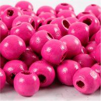 Houten kralen, d: 12 mm, gatgrootte 3 mm, roze, 22 gr/ 1 doos, 40 stuk