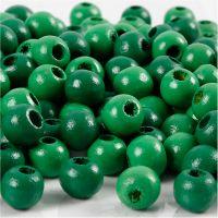 Houten kralen, d: 8 mm, gatgrootte 2 mm, groen, 15 gr/ 1 doos, 80 stuk