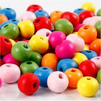 Houten kralen mix, d: 8 mm, gatgrootte 1,5-2 mm, diverse kleuren, 16 gr/ 1 doos