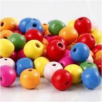 Houten kralen mix, d: 10 mm, gatgrootte 2,5-3 mm, diverse kleuren, 500 gr/ 1 zak