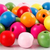 Houten kralen mix, d: 12 mm, gatgrootte 2,5-3 mm, diverse kleuren, 22 gr/ 1 doos