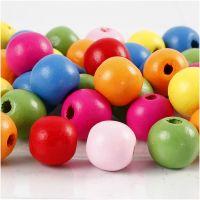 Houten kralen mix, d: 12 mm, gatgrootte 2,5-3 mm, diverse kleuren, 500 gr/ 1 zak
