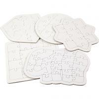 Puzzel, afm 17-21 cm, wit, 10 stuk/ 1 doos