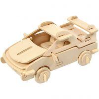 3D Houten constructie set, auto, afm 13x9x6 cm, 1 stuk