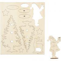 DIY Houten figuren, kerstman, kerstbomen, hert, L: 20 cm, B: 17 cm, 1 doos
