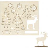 DIY Houten figuren, bos met herten, L: 15,5 cm, B: 17 cm, 1 doos