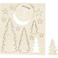 DIY Houten figuren, kerstbomen, L: 20 cm, B: 17 cm, 1 doos