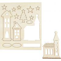 DIY Houten figuren, kerstdorp, L: 20 cm, B: 17 cm, 1 doos