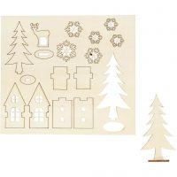 DIY Houten figuren, huis, bomen, hert, L: 15,5 cm, B: 17 cm, 1 doos