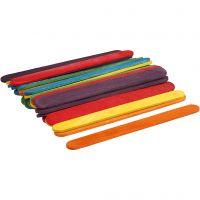 Constructiehoutjes, L: 11,4 cm, B: 10 mm, diverse kleuren, 30 stuk/ 1 doos