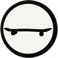 Label, skateboard, d: 25 mm, wit/zwart, 20 stuk/ 1 doos
