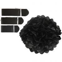 Pompon van papier, d: 20+24+30 cm, 16 gr, zwart, 3 stuk/ 1 doos