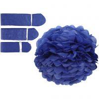 Pompon van papier, d: 20+24+30 cm, 16 gr, donkerblauw, 3 stuk/ 1 doos
