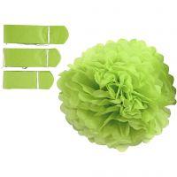 Pompon van papier, d: 20+24+30 cm, 16 gr, lime groen, 3 stuk/ 1 doos