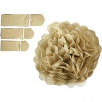 Pompon van papier, d: 20+24+30 cm, 16 gr, goud, 3 stuk/ 1 doos