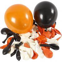 Ballonnen, rond, d: 23-26 cm, zwart, oranje, wit, 100 stuk/ 1 doos