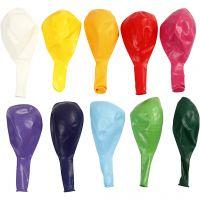 Ballonnen, rond, d: 23 cm, diverse kleuren, 10 stuk/ 1 doos