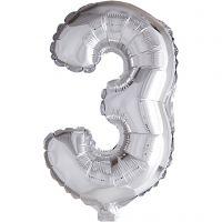 Folieballon , 3, H: 41 cm, zilver, 1 stuk