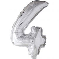 Folieballon , 4, H: 41 cm, zilver, 1 stuk