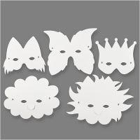 Fantasiemaskers, H: 15-20 cm, 230 gr, wit, 5 stuk/ 1 doos