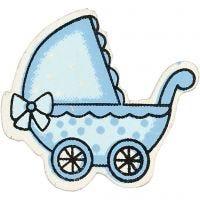 Kinderwagen, afm 34x31 mm, lichtblauw, 10 stuk/ 1 doos